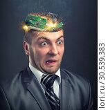 Short circuit in businessman head. Стоковое фото, фотограф Tryapitsyn Sergiy / Фотобанк Лори