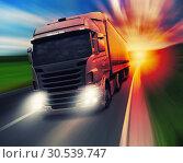 Truck on highway. Стоковое фото, фотограф Tryapitsyn Sergiy / Фотобанк Лори