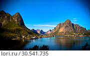 Купить «Panoramic view to Reine village and Gravdalsbukta, Lofoten, Norway», фото № 30541735, снято 21 июля 2017 г. (c) Сергей Майоров / Фотобанк Лори