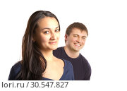 Купить «Two young business people talking and discussing», фото № 30547827, снято 6 февраля 2014 г. (c) Tryapitsyn Sergiy / Фотобанк Лори