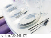 Купить «Served fashion table in white colors», фото № 30548171, снято 29 мая 2014 г. (c) Tryapitsyn Sergiy / Фотобанк Лори
