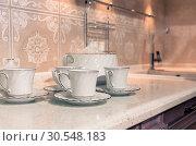 Купить «Cups of tea with a teapot», фото № 30548183, снято 29 мая 2014 г. (c) Tryapitsyn Sergiy / Фотобанк Лори