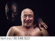 Купить «Portrait of bald scared man», фото № 30548923, снято 23 июля 2014 г. (c) Tryapitsyn Sergiy / Фотобанк Лори