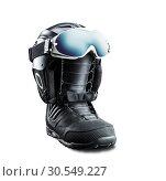 Купить «Snowboard boot with helmet and goggles», фото № 30549227, снято 24 октября 2014 г. (c) Tryapitsyn Sergiy / Фотобанк Лори