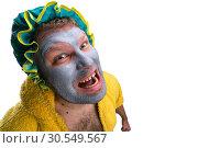 Купить «Strange man with face pack», фото № 30549567, снято 15 октября 2014 г. (c) Tryapitsyn Sergiy / Фотобанк Лори