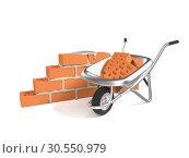 Купить «Stack of red bricks and a hand cart», фото № 30550979, снято 12 июля 2020 г. (c) Tryapitsyn Sergiy / Фотобанк Лори
