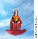 Купить «Little girl superhero», фото № 30553607, снято 8 августа 2015 г. (c) Tryapitsyn Sergiy / Фотобанк Лори
