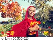 Купить «Smiling little girl in costume», фото № 30553623, снято 8 августа 2015 г. (c) Tryapitsyn Sergiy / Фотобанк Лори
