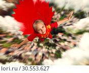 Купить «Super hero girl flying», фото № 30553627, снято 8 августа 2015 г. (c) Tryapitsyn Sergiy / Фотобанк Лори