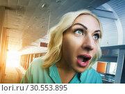 Купить «Deeply surprised woman», фото № 30553895, снято 19 сентября 2015 г. (c) Tryapitsyn Sergiy / Фотобанк Лори