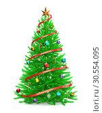 Купить «Christmas tree with colorful ornaments», фото № 30554095, снято 25 мая 2020 г. (c) Tryapitsyn Sergiy / Фотобанк Лори