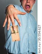 Купить «Businessman's hand in the mousetrap», фото № 30554627, снято 10 февраля 2016 г. (c) Tryapitsyn Sergiy / Фотобанк Лори