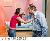 Couple quarrelling. Стоковое фото, фотограф Tryapitsyn Sergiy / Фотобанк Лори