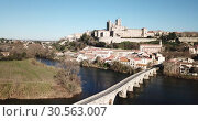 Купить «Aerial view of Beziers with Old Bridge and Cathedral of Saint Nazaire, France», видеоролик № 30563007, снято 6 января 2019 г. (c) Яков Филимонов / Фотобанк Лори