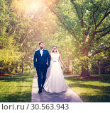 Beautiful newlyweds walking in a green park. Стоковое фото, фотограф Tryapitsyn Sergiy / Фотобанк Лори