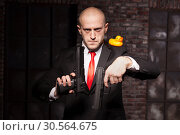 Купить «Angry contract murderer aims a pistol on toy duck», фото № 30564675, снято 19 января 2017 г. (c) Tryapitsyn Sergiy / Фотобанк Лори