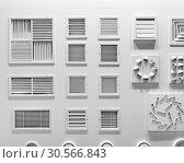Showcase with plastic grills for air vents closeup. Стоковое фото, фотограф Tryapitsyn Sergiy / Фотобанк Лори