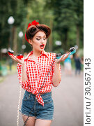 Glamour pin up girl with retro rotary telephones. Стоковое фото, фотограф Tryapitsyn Sergiy / Фотобанк Лори
