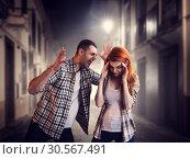 Купить «Evil man screams at woman, family quarrel», фото № 30567491, снято 19 июля 2017 г. (c) Tryapitsyn Sergiy / Фотобанк Лори