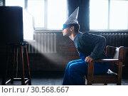 Man in tinfoil helmet and glasses, UFO phobia. Стоковое фото, фотограф Tryapitsyn Sergiy / Фотобанк Лори