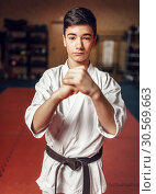 Martial arts, young fighter making respect sign. Стоковое фото, фотограф Tryapitsyn Sergiy / Фотобанк Лори