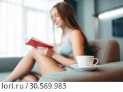 Купить «Woman sitting on the couch and reads the book», фото № 30569983, снято 24 декабря 2017 г. (c) Tryapitsyn Sergiy / Фотобанк Лори