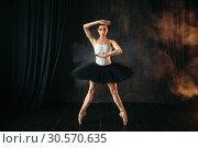 Купить «Elegance ballerina in action on theatrical stage», фото № 30570635, снято 12 февраля 2018 г. (c) Tryapitsyn Sergiy / Фотобанк Лори
