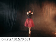 Ballet dancer in red dress dancing on the stage. Стоковое фото, фотограф Tryapitsyn Sergiy / Фотобанк Лори