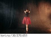 Купить «Ballet dancer in red dress dancing on the stage», фото № 30570651, снято 12 февраля 2018 г. (c) Tryapitsyn Sergiy / Фотобанк Лори