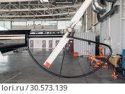 Купить «Tail rotor of small helicopter closeup, nobody», фото № 30573139, снято 19 июля 2018 г. (c) Tryapitsyn Sergiy / Фотобанк Лори