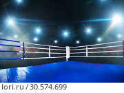 Купить «Empty boxing ring, view on corner with white ropes», фото № 30574699, снято 7 октября 2016 г. (c) Tryapitsyn Sergiy / Фотобанк Лори