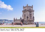 Купить «Belem Tower on the Tagus River a famous landmark in Lisbon, Portugal», фото № 30575367, снято 14 июля 2018 г. (c) Николай Коржов / Фотобанк Лори