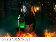 Scary witch cooking green brew and reads the spell. Стоковое фото, фотограф Tryapitsyn Sergiy / Фотобанк Лори