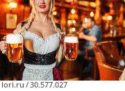 Купить «Sexy waitress with large breasts in pub», фото № 30577027, снято 14 марта 2019 г. (c) Tryapitsyn Sergiy / Фотобанк Лори