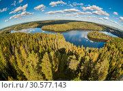 Купить «View from the lookout tower of Aulanko, Hämeenlinna, Finland. Fisheye lens», эксклюзивное фото № 30577143, снято 26 февраля 2020 г. (c) Сергей Цепек / Фотобанк Лори