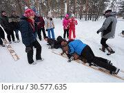 Купить «На многоместных лыжах можно упасть. Зимние забавы моржей в городе Заводоуковске», эксклюзивное фото № 30577635, снято 3 марта 2019 г. (c) Анатолий Матвейчук / Фотобанк Лори