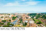 Купить «Вид на здание Колизея и Римский Форум. Панорама города с высоты птичьего полета в весенний день. Рим. Италия», фото № 30578715, снято 28 апреля 2018 г. (c) E. O. / Фотобанк Лори