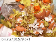 Купить «Food waste and garbage top view close-up texture and background», фото № 30579671, снято 30 декабря 2018 г. (c) Андрей Зарин / Фотобанк Лори