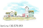 Купить «Seaside village. Watercolor hand drawn illustrations», иллюстрация № 30579951 (c) Мария Кутузова / Фотобанк Лори