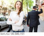 Купить «Offended girl after quarrel with boyfriend», фото № 30580151, снято 11 апреля 2017 г. (c) Яков Филимонов / Фотобанк Лори