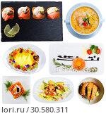 Купить «Set of salmon dishes», фото № 30580311, снято 21 ноября 2019 г. (c) Яков Филимонов / Фотобанк Лори