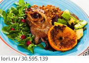 Купить «Pork chop with vegetables», фото № 30595139, снято 24 апреля 2019 г. (c) Яков Филимонов / Фотобанк Лори
