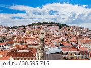 Aerial view of Lisbon downtown and Santa Justa Street to Sao Jorge Castle hill from panoramic platform of Elevador de Santa Justa or Miradouro de Sant (2018 год). Стоковое фото, фотограф Николай Коржов / Фотобанк Лори