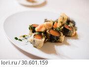 Купить «Salmon and shrimps dish», фото № 30601159, снято 12 декабря 2016 г. (c) Яков Филимонов / Фотобанк Лори