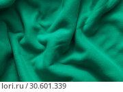 Купить «Texture of green fleece», фото № 30601339, снято 5 апреля 2019 г. (c) EugeneSergeev / Фотобанк Лори
