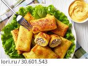 Купить «Savory crepe rolls with ground chicken meat», фото № 30601543, снято 4 апреля 2019 г. (c) Oksana Zh / Фотобанк Лори