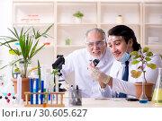 Купить «Two chemists working in the lab», фото № 30605627, снято 9 января 2019 г. (c) Elnur / Фотобанк Лори