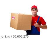 Купить «Young male courier with box isolated on white», фото № 30606275, снято 9 ноября 2018 г. (c) Elnur / Фотобанк Лори