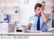 Купить «Young male businessman employee unhappy with excessive work», фото № 30606647, снято 19 января 2019 г. (c) Elnur / Фотобанк Лори
