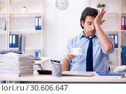 Купить «Young male businessman employee unhappy with excessive work», фото № 30606647, снято 19 января 2019 г. (c) Elnur / Фотобанк Лори